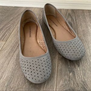 Lucky Brand Gray Leather Eyelet Ballet Flats